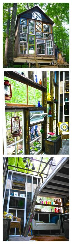 "This author's tiny ""glass house"" is almost entirely made of reclaimed materials."