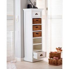 You'll be on top of the world with our tall Rustic White Wellington which comprises a winning combination of two solidly constructed drawers and five accessible rattan baskets Oak Furniture House, Solid Wood Furniture, White Furniture, Online Furniture, Rustic Furniture, Painted Furniture, Storage Cabinets, Tall Cabinet Storage, Wood Storage