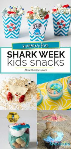 Shark Week Kids Snacks Roundup Shark Week is almost here. Time to make some fun Shark Week Kids Snacks to keep the entire family in on the fun! Check out these adorable ideas! Ocean Snacks, Shark Snacks, Animal Snacks, Camping Snacks, Kid Snacks, Fun Snacks For Kids, Kids Fun, Preschool Snacks, Camping Cabins