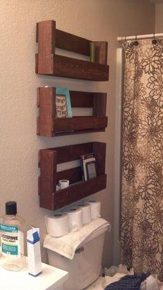 Shelves from pallets! My boyfriend is handy!