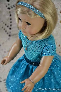 American Girl or 18 Inch Doll Cinderella Princess Special Occasion 2 Piece DRESS, SHOES, JEWELRY and Headband by LorelieCreations on Etsy