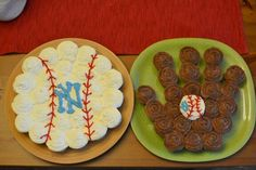 Baseball Cupcakes in the Shape of A Baseball and Glove.  PERFECT idea, only Boston Red Sox instead.