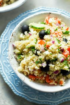 Quinoa Greek Salad has lucious feta and a tart vinaigrette. What's not to love?