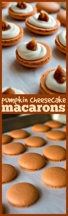 Cheesecake Macarons A classic chewy french cookie is given a fall makeover with a pinch of pumpkin spice cream cheese buttercream and pumpkin butter Fall Desserts, Just Desserts, Delicious Desserts, Baking Recipes, Cookie Recipes, Dessert Recipes, Recipes Dinner, Pasta Recipes, Crockpot Recipes