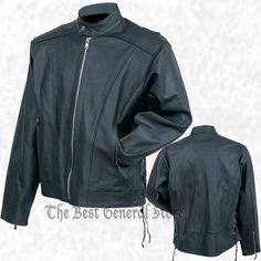 Men Black Solid Cowhide Leather Motorcycle Riding Jacket with Side Laces Cruiser #RockyMountainHides #BikerRiding