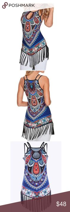 "Printed Vest Strap Camisole Casual Tassels Tank Material:polyester+spandex.                       SChest: 31.8"" Length:24.8inch  M Chest: 33.4"" Length :25.1inch  L Chest: 35"" Length :25.4inch  XL Chest: 36.5"" Length :25.7 inch  XXL Chest: 38.5"" Length :26.3 inch Tops Tank Tops"