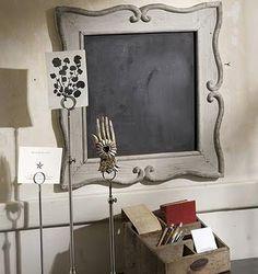 Framed Chalk Board by Vagabond Vintage® Chalkboard Pictures, Framed Chalkboard, Chalkboard Ideas, Kitchen Chalkboard, Decorating On A Budget, Elle Decor, Decorative Accessories, Decorative Items, Picture Frames