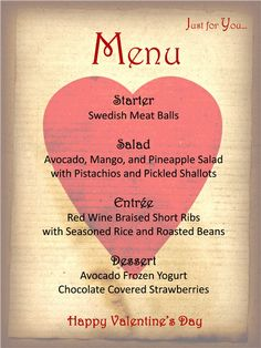 <3 Menu Template For Your Valentine's Day | Valentines Day Dinner Party