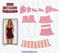 KiVita MoYo : MINI ENTERIZO TABLEADO Fashion Sewing, Diy Fashion, Ideias Fashion, Fashion Design Template, Pattern Fashion, Diy Clothing, Sewing Clothes, Dress Sewing Patterns, Clothing Patterns