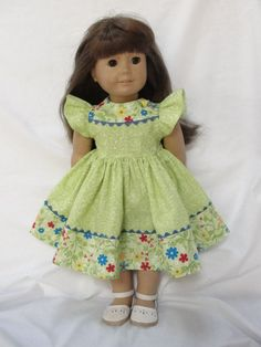 American Girl Dolls Dress - Green Fern & Floral Print for 18 Inch Dolls. $18.00, via Etsy.