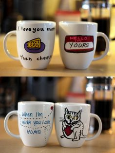 For our 10 year anniversary we decided to go a DIY route, which came out pretty damn cute but as you can see by the cat drawing, it didn't really last. Sharpie Mugs.