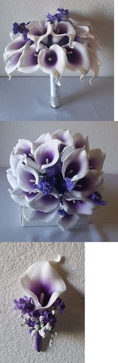Flowers Petals and Garlands 20938: Purple Ivory Real Touch Calla Lily Bridal Wedding Bouquet And Boutonniere -> BUY IT NOW ONLY: $69.99 on eBay!