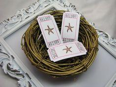 Star Fish Tickets Beach Wedding Bridal Showers by GoldenNestStudio
