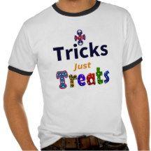 No Tricks Just Treats Ringer Tee White/Black