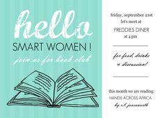 Turquoise Hello Book Club Invites by PurpleTrail.com