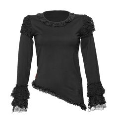 Gothic women's top with lace ruching Queen of Darkness