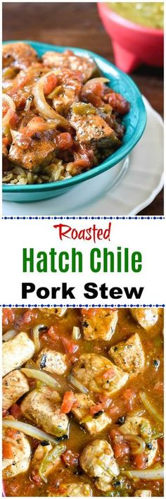 This Roasted Hatch Green Chile Pork Stew is made with freshly roasted Hatch green chiles and pork, onions and tomatoes to spice up the party or dinnertime! #HatchGreenChiles #ad @heb @mytexaslife