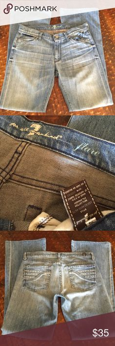 """7FAMK flare jeans, size 29, 32"""" inseam 7FAMK flare jeans, size 29, 32"""" inseam, rhinestone detail on back pockets, great condition! 7 For All Mankind Jeans Flare & Wide Leg"""