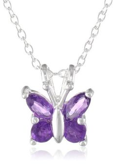 """Sterling Silver Amethyst Butterfly Pendant Necklace, 18"""" Amazon Collection  925 silver for my Lala :)"""