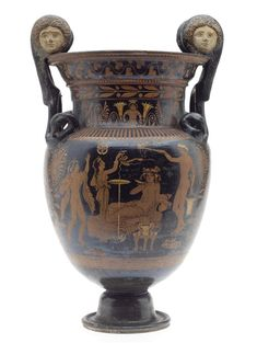 Volute-krater of pottery painted with red-figure decoration, depicting a scene at a drinking party, with Dionysus on a couch playing a game (kottabos) on one side: Ancient Mediterranean, South Italian, 4th century BC, c.375-350 BC © National Museums Scotland