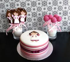 First Communion cake + cake pops + decorated cookies