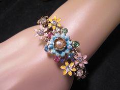 Retro Recycling at its very best!  Vintage Bracelet Flower Power Bracelet by JenniferJonesJewelry, $67.50