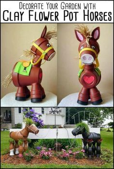 Decorate Your Garden by Making This Clay Flower Pot Horse