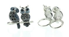 Amazon.com: Womens Rings, Silver, Blue & Black Stones Rhinestone Owl Ring, Large, Size 9-10, Fits Two Fingers: Jewelry