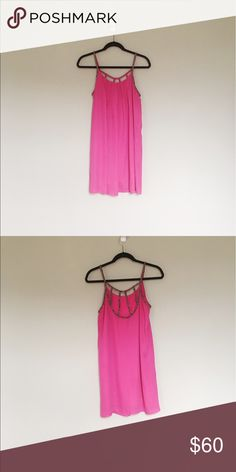 Francesca's. Hot pink dress with beaded back. Francesca's. Hot pink chiffon dress with beaded back. Size Small. Flattering on all body types. So comfortable! Dress it up with heels or keep it casual with a pair of sandals. Francesca's Collections Dresses