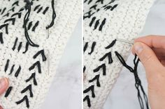 This free crochet pillow pattern uses a mud cloth inspired design to make a modern piece of couch flair! Excellent pattern for beginners! Made with Lion Brand Kitchen Cotton. Crochet Towel, Crochet Yarn, Free Crochet, Free Knitting, Crochet Pillow Patterns Free, Free Pattern, Afghan Patterns, Knitting Patterns, Crochet Granny Square Afghan
