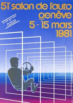 Genève, 51e Salon de l'Auto, 1981  PUBLIPARTNER – 1981 Museum, Vintage Posters, Logo Design, Mars, Movie Posters, The Originals, Art History, Catchphrase, Exhibitions