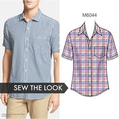 McCall's M6044 -Men's Short-Sleeve Shirt Pattern is a favorite with sewing bloggers. Sew the look for your guy this summer. Go classic with madras, shirting or seersucker. #Mccalls #sewthelook #sewingformen #mensshirtpattern #sewingblogger #sew #sewing https://instagram.com/p/4gt5q5q1KV/