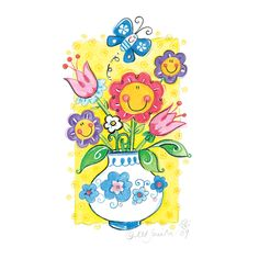 Flowers In A Vase illustration - Kate Smith Designs