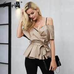 Backless v neck blouse shirt women tops Satin sash bow shirt blouse chemise Christmas elegant zipper sexy blusas female