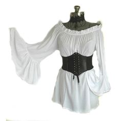 RENAISSANCE BLOUSE SHIRT & CORSET COTTON CHEMISE MEDIEVAL PIRATE WENCH... ❤ liked on Polyvore featuring tops, blouses, off shoulder blouse, white blouse, long shirt, sexy shirts and white bell sleeve blouse