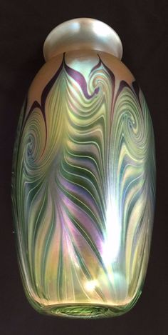 Monumental Orient & Flume Pulled Feather Vase | Iridescent American Art Glass NR