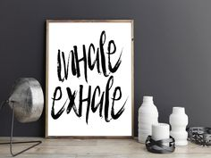 PRINTABLE Art,INHALE EXHALE,Fitness Poster,Workout Print,Gym Decor,Motivational…