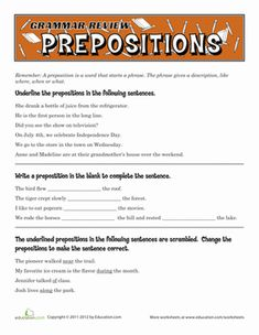 Fifth Grade Grammar Worksheets: Grammar Review: Prepositions