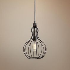 Bourret One Light Cage Pendant by Uttermost Lighting 10 inches wide