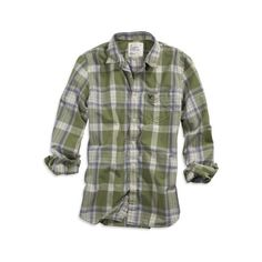 Just add jeans. Features: Soft woven cotton, Athletic Fit, Faded madras plaid pattern, One front chest pocket, Eagle embroidery on pocket, White seam stitching…