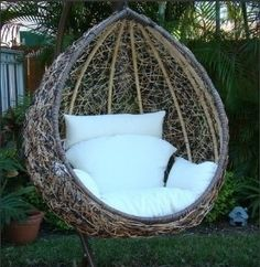 Egg Swing Chair contemporary outdoor chairs - would love to curl up in this and read a book! Egg Swing Chair, Swinging Chair, Egg Chair, Swing Chairs, Beach Chairs, Patio Swing, Lounge Chairs, Wicker Swing, Patio Decks