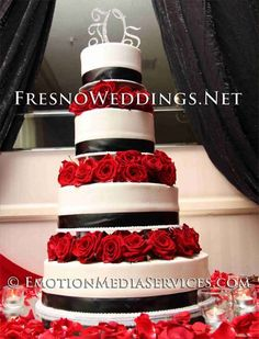 White, Red, and Black Wedding Cake....love this