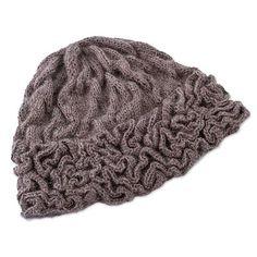 100% baby alpaca hat, 'Labyrinthine Brown' - Textured Brown Knit 100% Baby Alpaca Hat with Crochet Trim (image 2d)