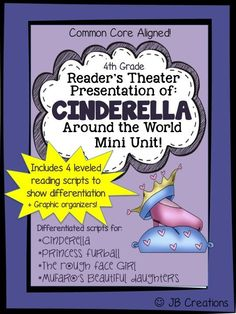 Students will actively engage in dialogue that will provide a background for the cultural differences demonstrated in these 4 Cinderella Reader's Theater scripts! Written on 4 different reading levels, scripts for Mufaro's Beautiful Daughters, Princess Furball, Rough Face Girl, & Cinderella will allow for comparison on themes & topics in accompanying activities! https://www.teacherspayteachers.com/Product/Readers-Theater-4-Cultural-Cinderella-Stories-differentiated-reading-levels-1722999
