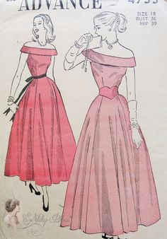 I love the skirt 1940s Evening Party Dress Pattern Ballet Length Figure Flattering Flared Skirt Stunning Off Shoulders Portrait Neckline Advance 4755 Vintage Sewing Pattern Bust 36