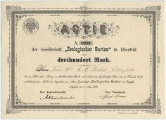 "Gesellschaft ""Zologischer Garten"" in Elberfeld 300 Mk Elberfeld 1881"