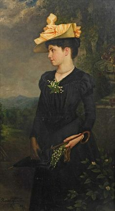▴ Artistic Accessories ▴ clothes, jewelry, hats in art - Horace Günter - Portrait of a Young Lady