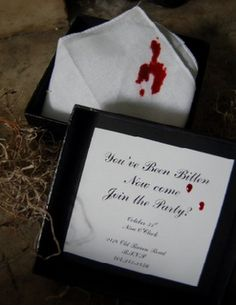 """These would be perfect creepy invites! A little """"blood"""" on a handkerchief and you have the perfect way to invite your guests! (save this one for a Twilight or Murder Mystery party!) Source"""
