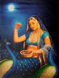 Lady Feeding Fruits to Her Pet Peacocks, Oils Oil on CanvasArtist: Anup Gomay Rajasthani Painting, Rajasthani Art, Ganesha Painting, Madhubani Painting, Bollywood Stars, Indian Drawing, Blue Bird Art, Indian Art Gallery, African Art Paintings