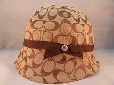Coach Riding / Bucket Hat Beige / Brown Jacquard C Pattern Sz M-L